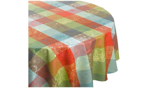 GARNIER THIEBAUT presents Mille Couleurs 69-inch Two-Ply 100% Cotton Round Tablecloth
