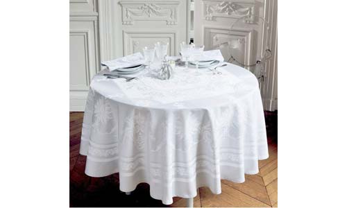 GARNIER THIEBAUT presents Beauregard Blanc 100% Damask Cotton White 77-inch Round Table Cloth