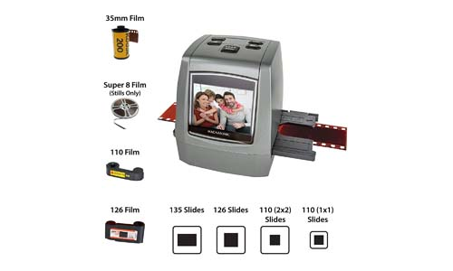 Magnasonic All-In-One High-Resolution 22MP Film Scanner, Converts 126KPK/135/110/Super 8 Films, Slides, Negatives into Digital Photos, Vibrant 2.4