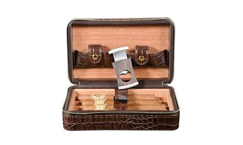 Volenx Travel Cigar Case, Travel Humidor Crocodile Leather Case for 4 Cigars