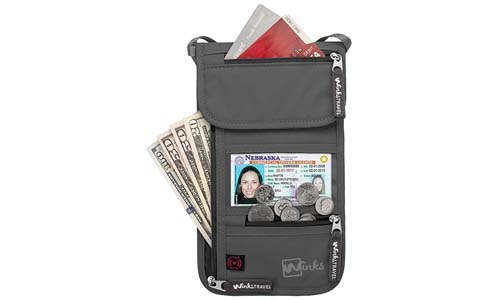 Travel Neck Wallet Passport Holder w/ RFID Blocking - Premium Traveling Pouch