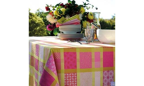 GARNIER-THIEBAUT presents Mille Ladies Pivoine (Peony) 69-inch Coated Cotton Jacquard French Round Tablecloth