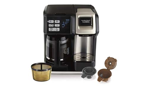 HAMILTON BEACH presents Single Serve and Full Pot 12-Cup Coffee Maker with Gold Tone Filter 49950C