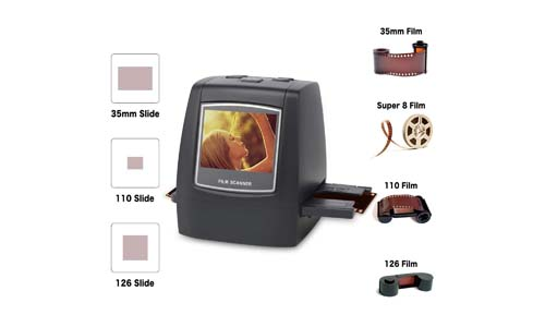 DIGITS NOW Film scanner with 22MP Converts 126KPK/135/110/Super 8 Film, Slides, Negatives into Digital Photos, 2.4