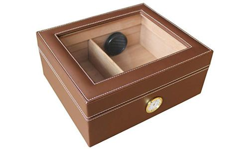 AMANCY Quality Brown Leather 25-50 Cigar Humidor