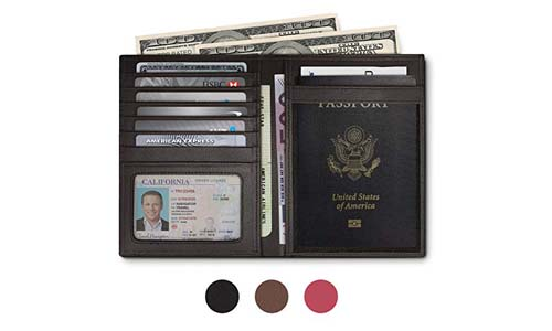 RFID Blocking Leather Passport Holder For Men and Women - Black, Brown, or Pink