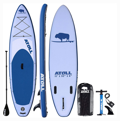 Atoll 11' Foot Inflatable Stand Up Paddle Board (6 Inches Thick, 32 inches Wide) ISUP,