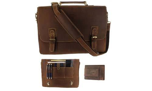 Viosi Mens RFID Leather Messenger Bag