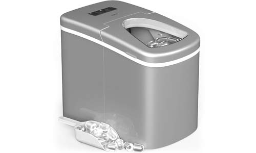 hOmeLabs Portable Ice Maker Machine for Countertop - Makes 26 lbs of Ice per 24 hours - Ice Cubes ready in 8 Minutes - Electric Ice Making Machine with Ice Scoop and 1.5lb Ice Storage – Silver