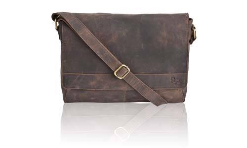 Estalon Leather Laptop Messenger Bag