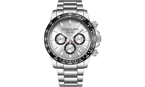 Stuhrling Original Mens Sport Chronograph Watch - Stainless Steel Brushed Matte Bracelet, 891 Formula