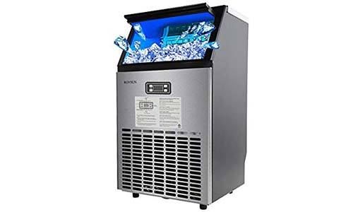 ROVSUN Built-in Stainless Steel Commercial Ice Maker, Under Counter/Freestanding / Portable Automatic Ice Machine for Restaurant Bar Cafe, 100lbs/24h Production, 33lbs Storage, 5 Accessories, 115V
