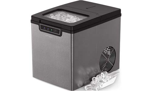 Ice Machine - Portable, Counter Top Ice Maker Machine TG22 - Produces 26 lbs Of Ice Per 24 Hours - Stainless Steel - Top Rated Ice Maker For Countertop use By ThinkGizmos (trademark protected