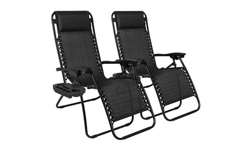 Best Choice Products Set of 2 Adjustable Zero Gravity Lounge Chair Recliners for Patio, Pool w/Cup Holder Trays, Pillows – Black