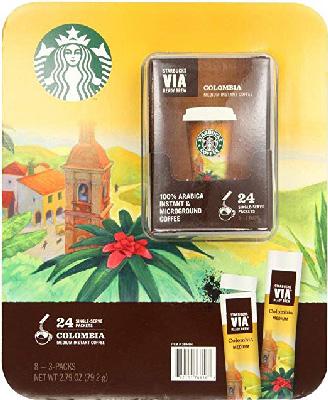 4 Wholesale Lots Starbucks Via Ready Brew Columbia Medium Instant Coffee, 96 Self Serve Packets Tota