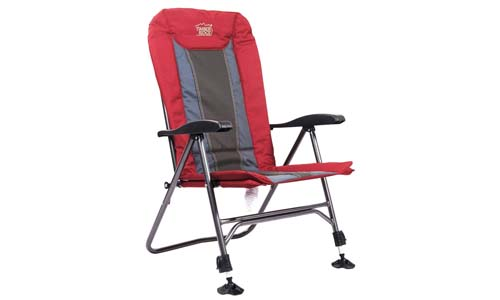 Timber Ridge Camping Chair, Folding Heavy Duty with Adjustable Reclining Padded Back and Legs