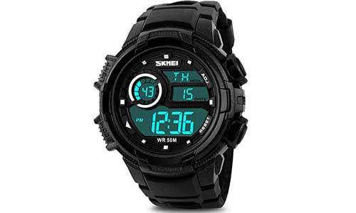AposonMen's and Boy's Digital Sports Watch with Silicone Rubber Band - Black