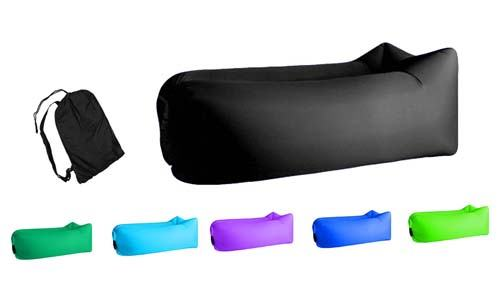 Jsutyer Inflatable Lounger Bag Rip stop, Outdoor Hammock Portable Air Sofa Bag, Hangout Air Couch Sleeping Bag for Hiking Camping Picnics Music Festivals (Black)