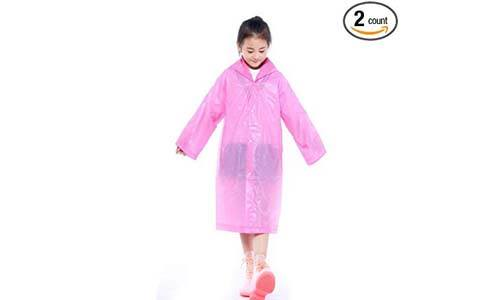 Walsilk 2Pack Emergency Rain Ponchos for Kids