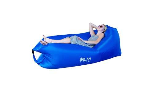 Naleema Inflatable Air Lounger| Large Size Air Hammock with Comfortable Headrest | Easy to Inflate, Durable, Lightweight & Convenient Design | Securing Stake, Pockets & Carry Bag for Camping & Parties