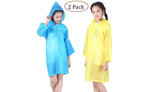 Luckyiren Children's Rain Poncho for 6-12 Years Old