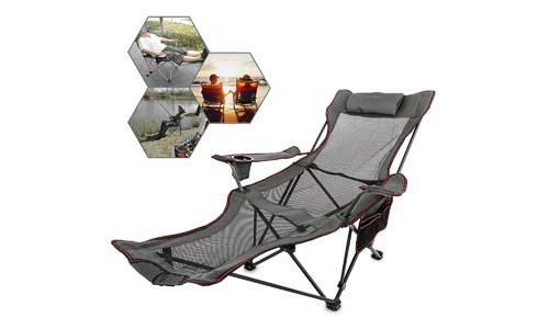 Happybuy Folding Camp Chair with Footrest Mesh Lounge Chair with Cup Holder