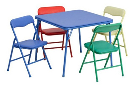 Flash Furniture Kids Colorful 5 Piece Folding Table