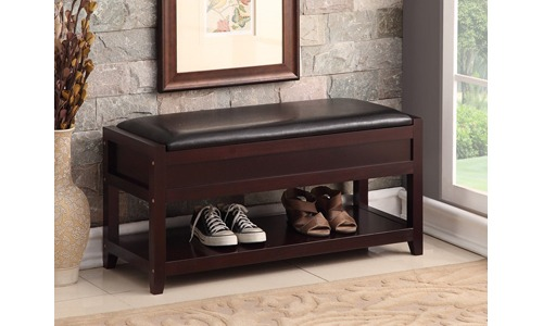 Espresso Bonded Leather Entryway Shoe Bench
