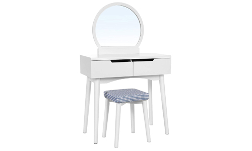 VASAGLE Vanity Table Set with Round Mirror