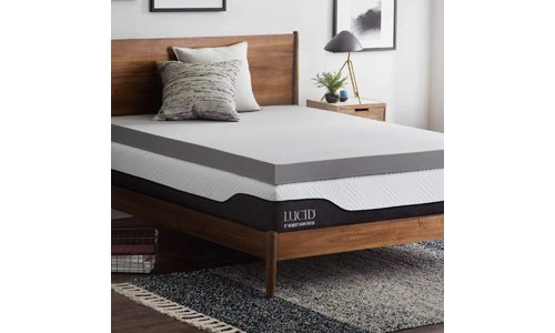 Lucid Bamboo Charcoal Memory Foam Mattress Topper
