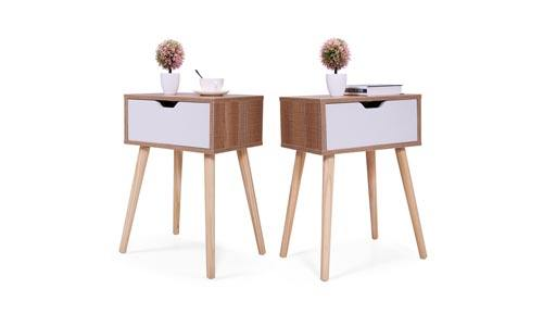 JAXPETY Set of 2 Bedside Table Solid Wood