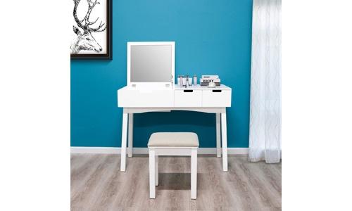 Dressing Table Vanity Set with Flip Top Mirror