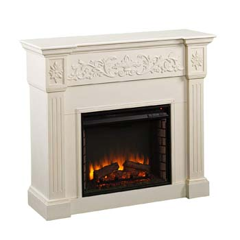 1. Southern Enterprises Calvert Carved Electric Fireplace with Ivory Finish
