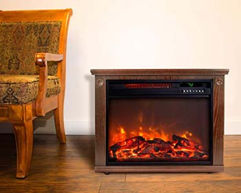 7. Lifesmart Large Room Infrared Quartz Fireplace in Burnished Oak (28 Inches Wide)