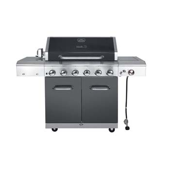 3. Deluxe 6-Burner Grill with a Searing side Burner in Slate attached