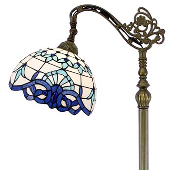 3. Tiffany Style Stained Glass White Blue Baroque Lamp