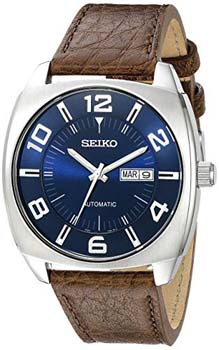 8. Seiko Men's Blue Dial Brown Leather Strap Automatic Watch