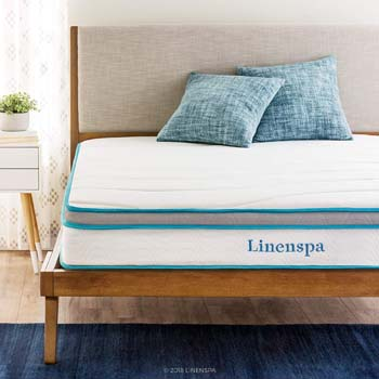 3. Linenspa 8 Inch Memory Foam and Innerspring Hybrid Mattress