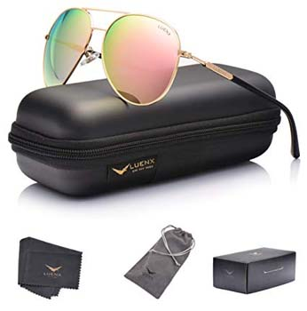 1. LUENX Aviator Sunglasses Women's Polarized Mirror with Case - UV 400 Protection 60MM
