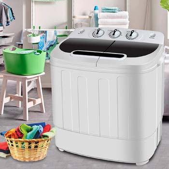 7. SUPER DEAL Portable Compact Mini Twin Tub Washing Machine w/Wash and Spin Cycle
