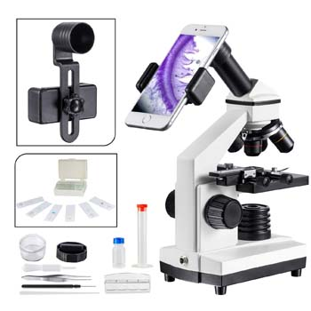 10. 1000x Compound Microscope for Students with Prepared Slides
