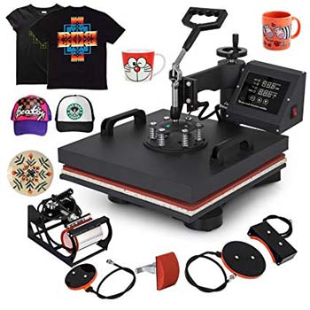 9. Mophorn 15x15 Heat Press Inch 5pcs 1050W Multifunctional LED Display Machine, Swing Away Design, t-Shirts, 5IN1 Element, 15x15Inch,